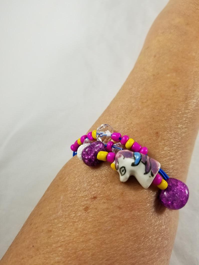Purple Unicorn Bracelet Purple and Yellow Beads Three Strands image 0