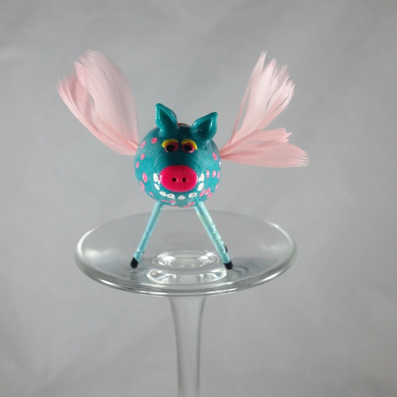 Mini Smiling Pig Blue With Pink Polka-Dots and Pink Angel image 0
