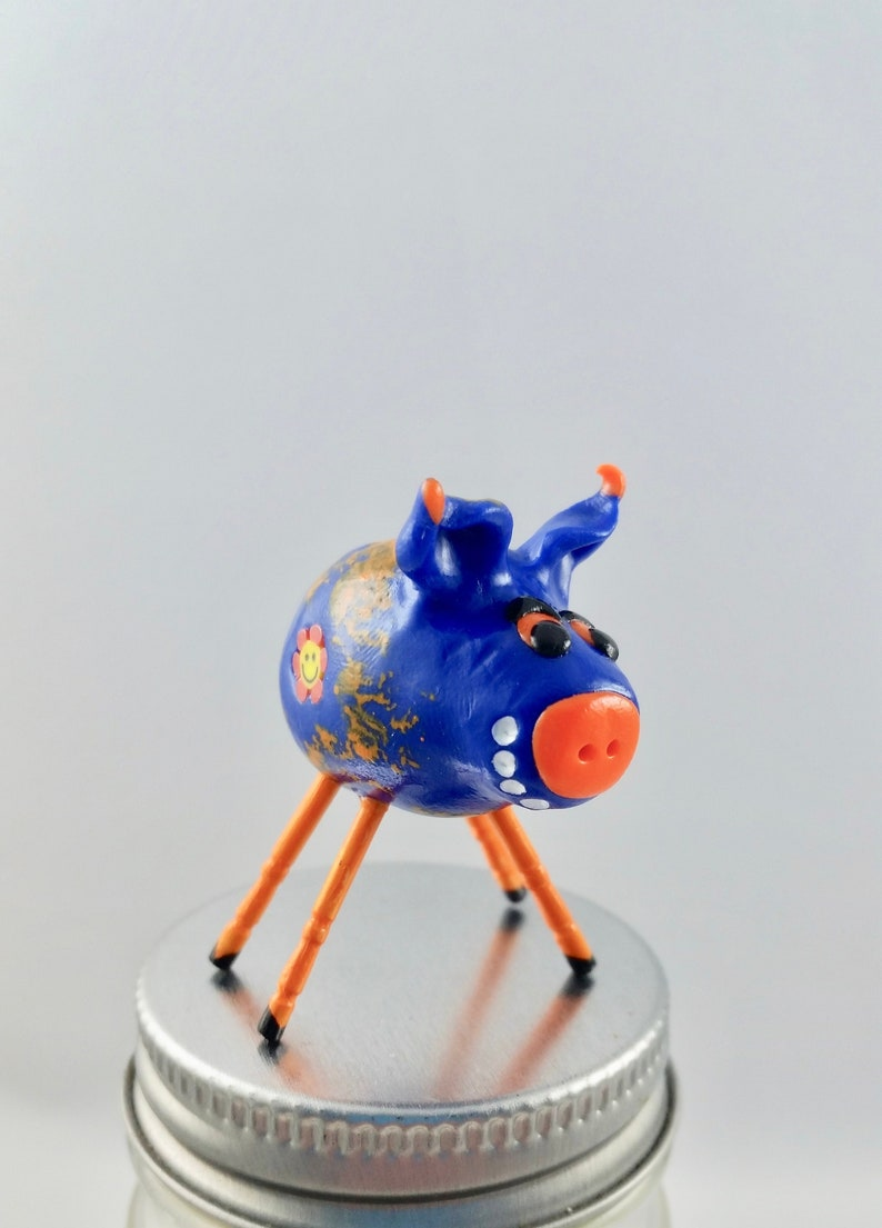 Mini Smiling Pig Blue and Orange with Smileys and Orange Legs image 0
