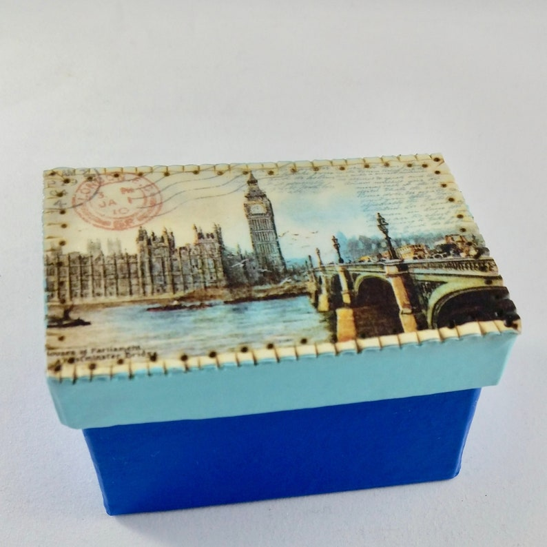 London Postcard Blue Keepsake and Treasure Box image 0