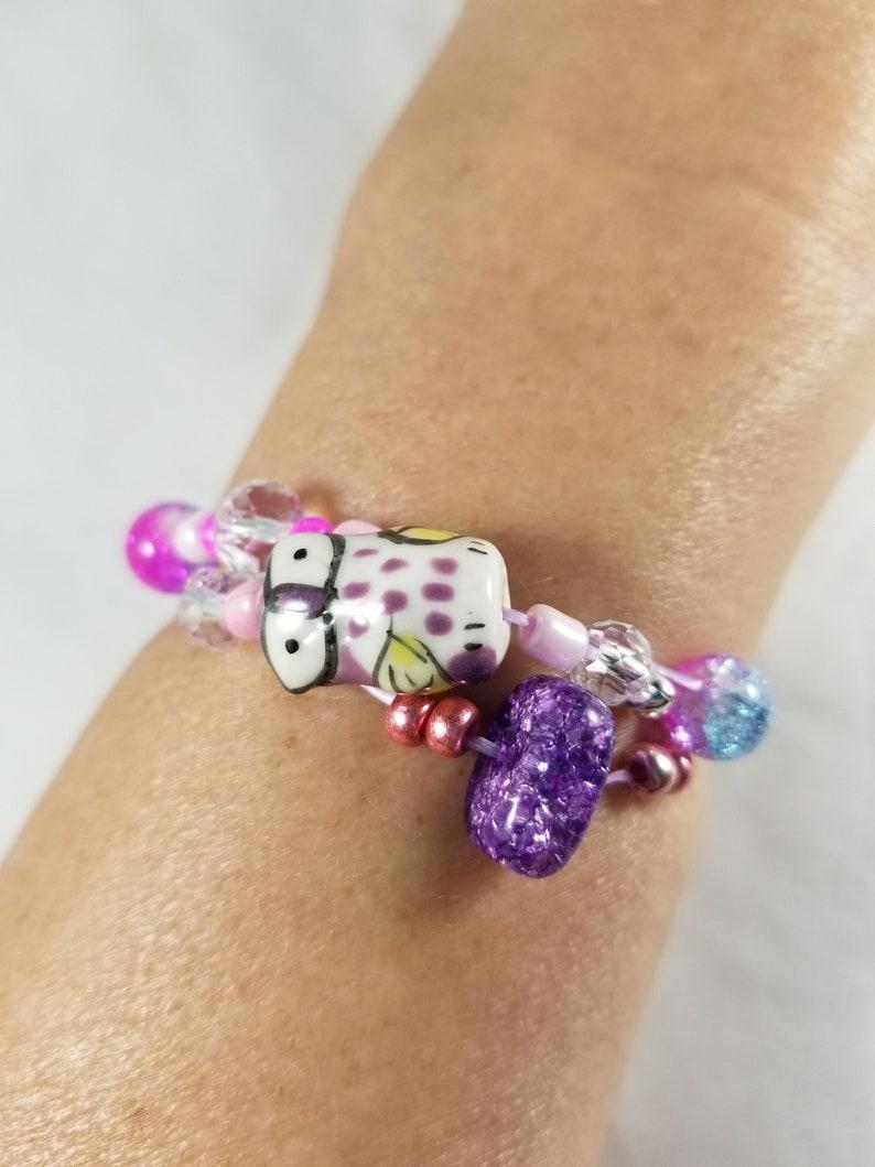 Purple Owl and Purple Stone Beaded Pink Stretch Cord Bracelt image 0