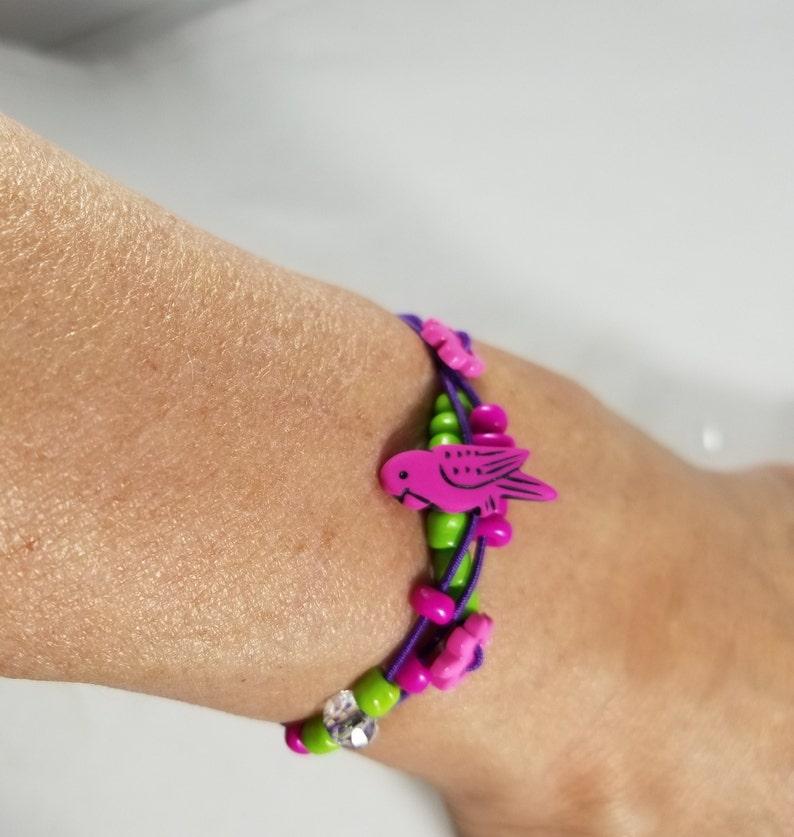 Parrot Beaded Bracelet Purple Stretch Cord image 0