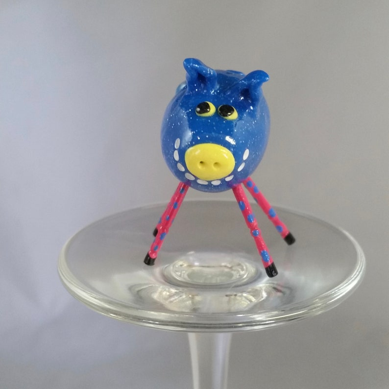 Mini Smiling Pig Sparkle Blue With Pink and Blue Polka-Dot image 0