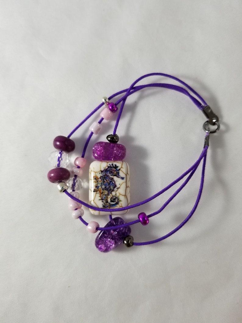 Seahorse and Purple Stone Beaded Bracelet Three Strands Purple image 0