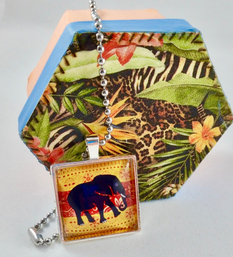 Elephant Mango and Red Cabochon Silver Pendant Stainless Steel image 0