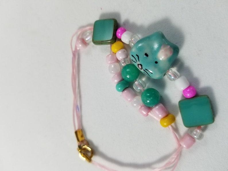 Kitty Ceramic Beaded Elastic Pink Bracelet image 0