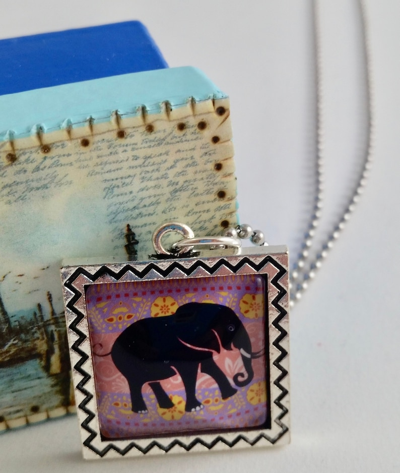Elephant Purple and Pink Cabochon Square Silver Pendant Ball image 0