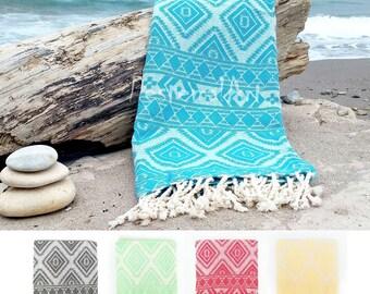 Turkish Towel, Aztec Beach Towel, Peshtemal, Pool Towel, Fouta, Turkish Towels, wholesale bridesmaid gift, unique-gift-for-wife, AZT