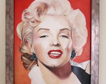 Marilyn Monroe (framed oil painting, 2017)