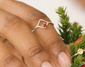 Open diamond ring: Beautiful Garnet Ring, Natural Red Garnet 3 mm Simple Ring - Handmade Ring - 925 Sterling Silver