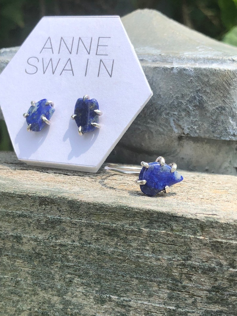 Lapis lazuli ring: gemstone ring,raw gemstone ring prong setting lapis lazuli ring band blue lapis lazuli ring