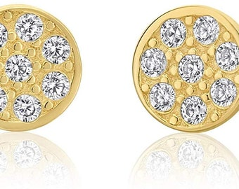 Girls 14k Gold Small Flower Stud Earrings with Cubic Zirconia and Screw Backings Manufactured for Art and Molly 19-20-N