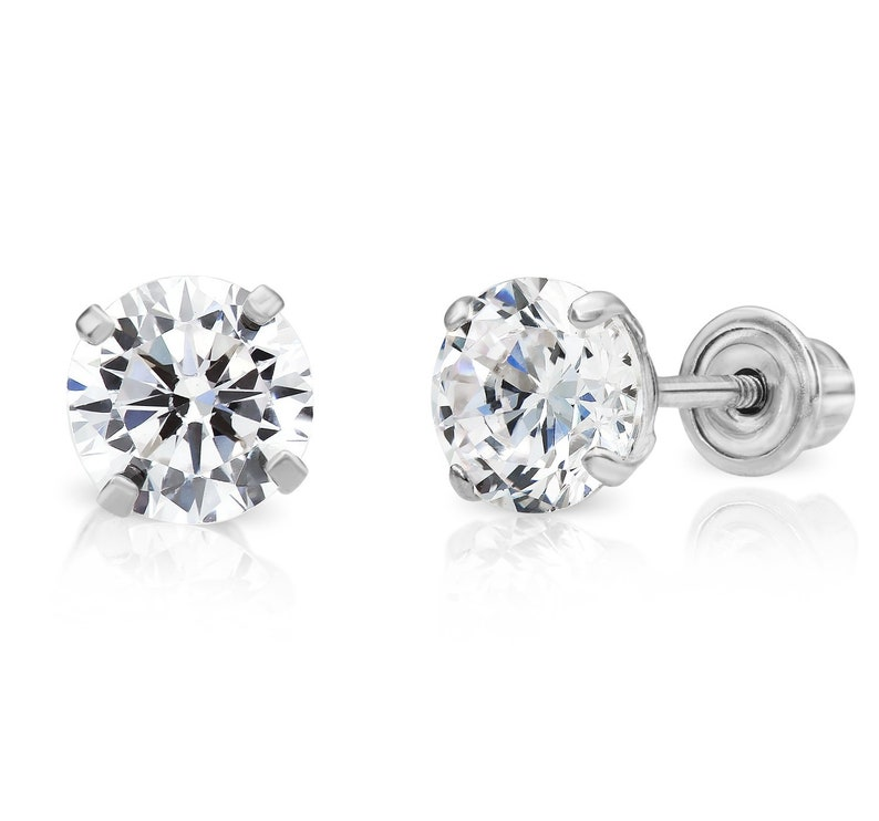 14k Yellow or White Gold Genuine Pearl CZ Round Stud Earrings with Screw Back