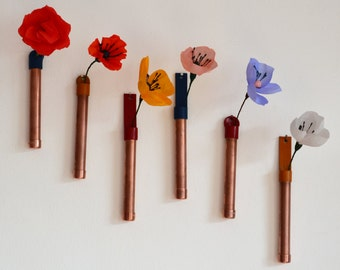 Copper wall vase Set of 6 Mix and match Copper home decor Little Luxuries Inspirational gifts Flower vases Bud vase Single flower vase