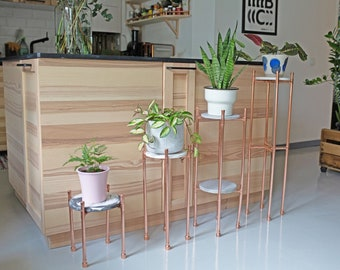 Copper plant stand - Jesmonite side table - Concrete table - Terrazzo console table - Industrial plant holder - Marble effect table