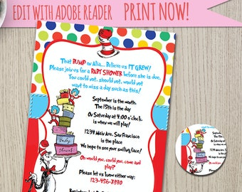 Dr. Seuss    theme    cat in the hat    baby shower invitation    editable     printable    instant download    invitation    DIY invites 32d51da479
