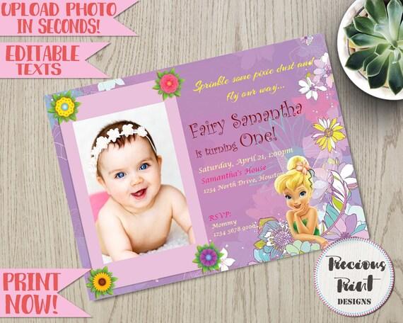 Tinkerbell Birthday Invitation Editable Fairy Instant Etsy