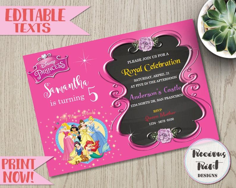 Disney Princesses Birthday Invitation Custom Printable