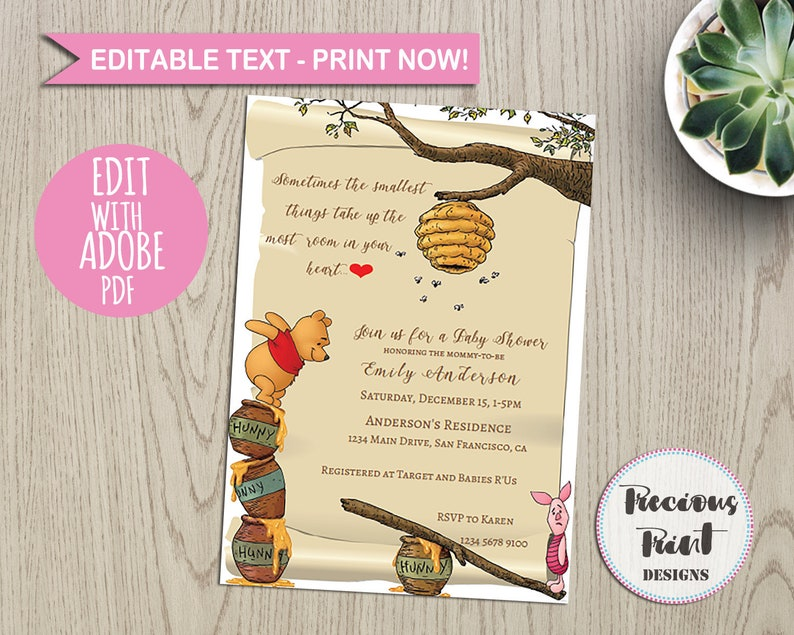 picture regarding Printable Winnie the Pooh Baby Shower Invitations named Clic / Winnie the / Pooh / little one shower / invitation / printable / fast down load / invite / electronic / editable / birthday invite