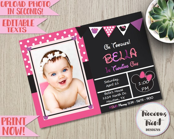 Minnie Mouse Photo Invitation Template Inspired Birthday Baby Showers Baptism