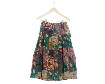 5b176534a9 Vintage printed pleated skirt Retro bohemian skirt Retro colorful skirt  Abstract print skirt colorful Retro hipster skirt