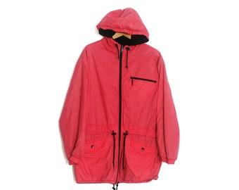 Red fleece windbreaker | Vintage windbreaker | Northern Climate jacket | Fleece lining windbreaker | Large Retro Windbreaker for Women