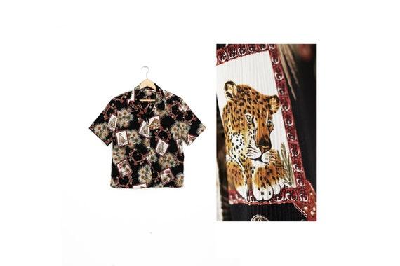 Retro animal print shirt. Leopard summer blouse. L