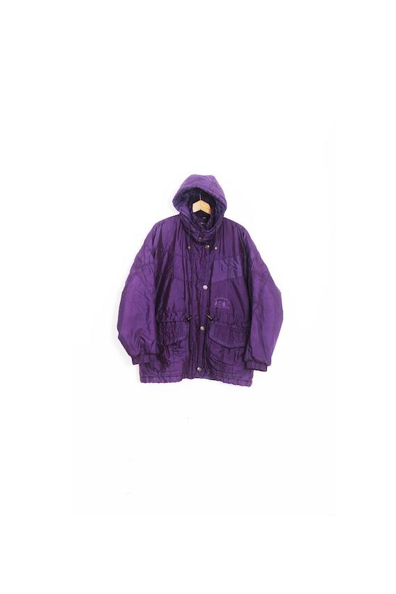 Vintage purple winter coat. Winter women's jacket.
