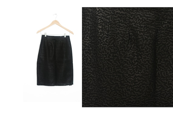 Black leather high waist skirt Vintage skirt Vinta