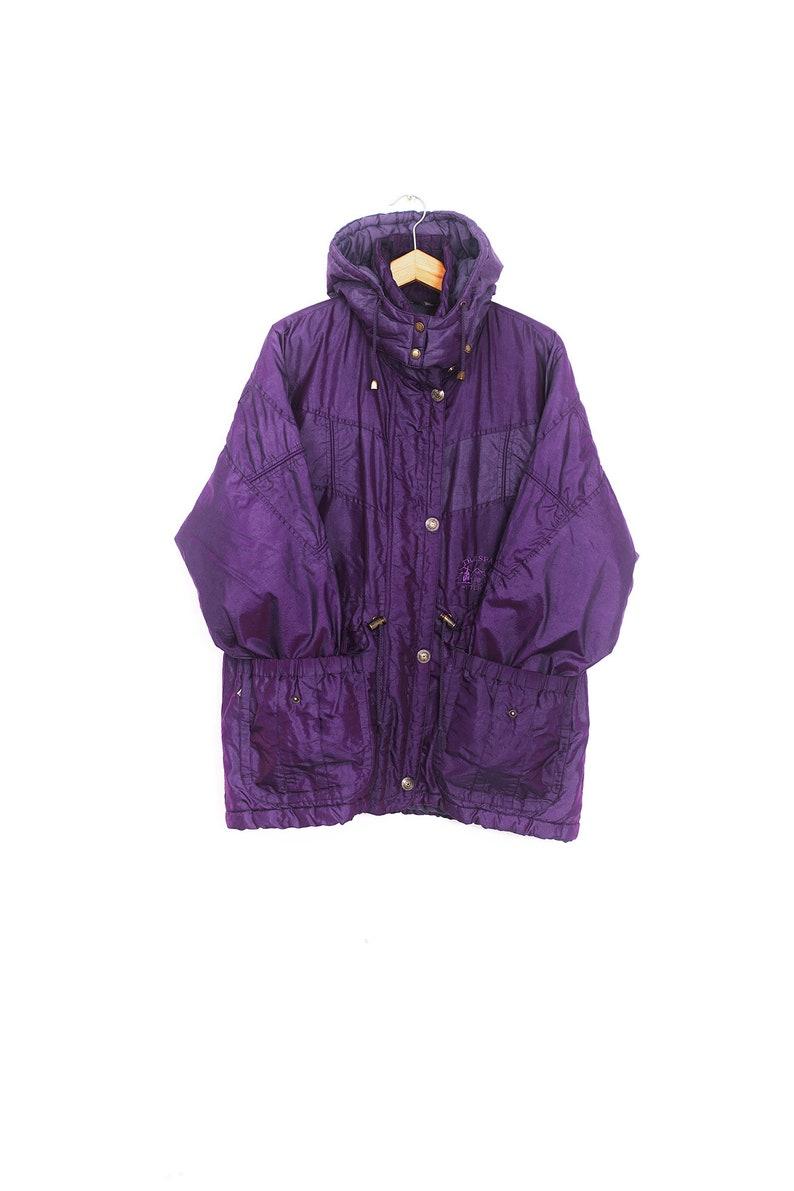 Winter hooded coat. Vintage purple winter coat Winter women/'s jacket Bright purple