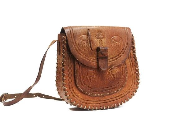 Vintage tooled leather purse Leather purse Hippie