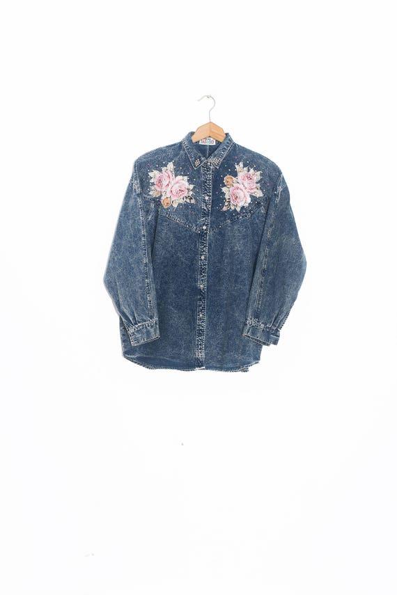 Tie Dye Flowers Shirt   Vintage Flower Shirt   Ret