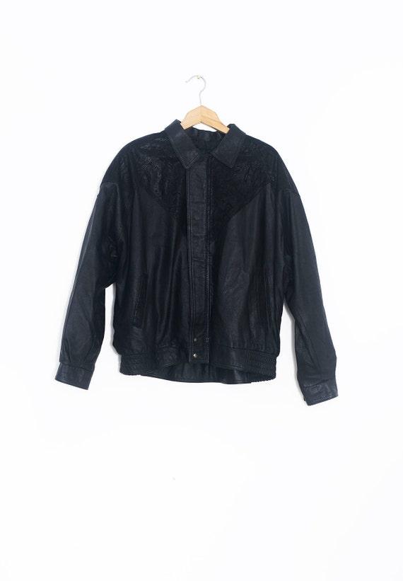 Animal print leather jacket | Vintage leather jack
