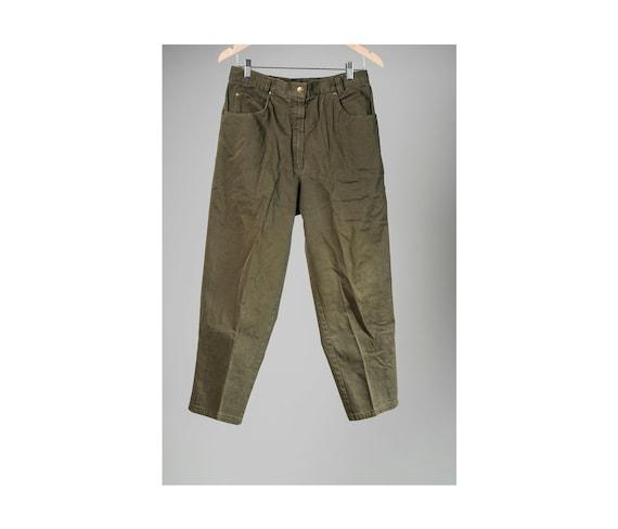 High-waisted women/'s pantacourt. Vintage khaki green pantacourt Women/'s 34 summer green pants