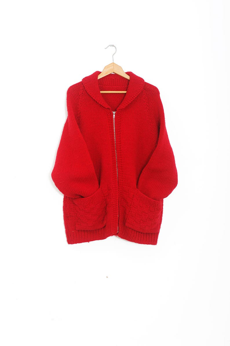 0652cd5474bc Rote Vintage Cowichan Pullover | Vintage Cowichan Strickjacke |  Handgemachte Strickpullover | Strickjacke stricken Vintage | Rote  Strickjacke XLarge