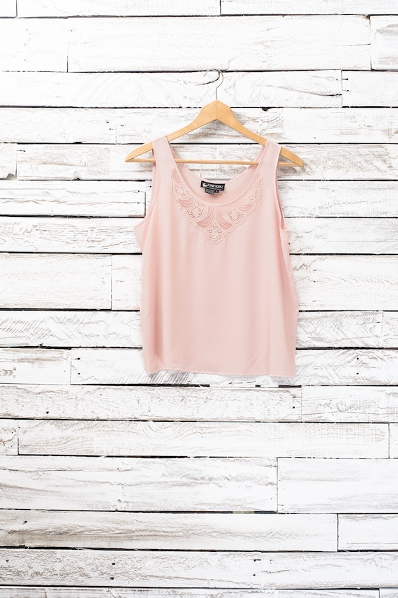 Vintage tank top pink salmon | Camisole with lace