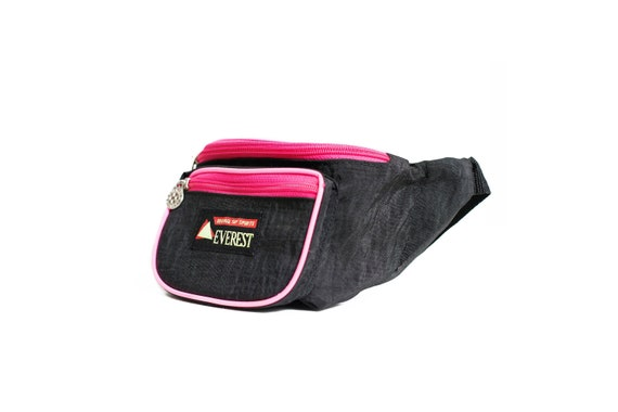 Fanny pack black and pink neon retro. Neon nylon s