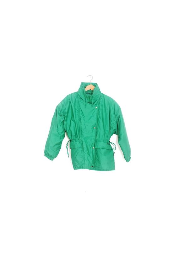 ALPINE vintage winter coat. Retro green winter coa