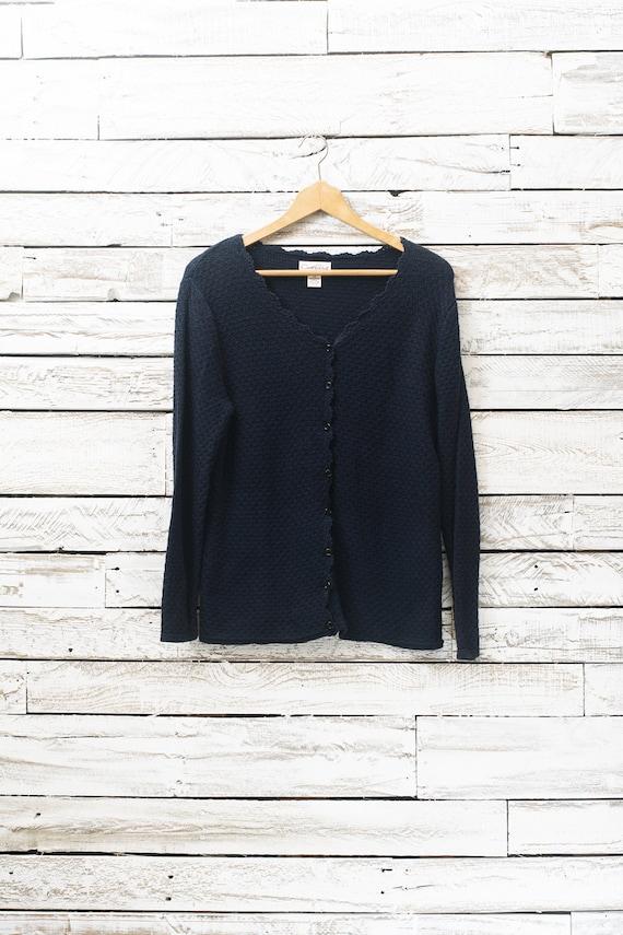4d9d54208f Vintage dark blue cardigan Women cardigan Cotton cardigan