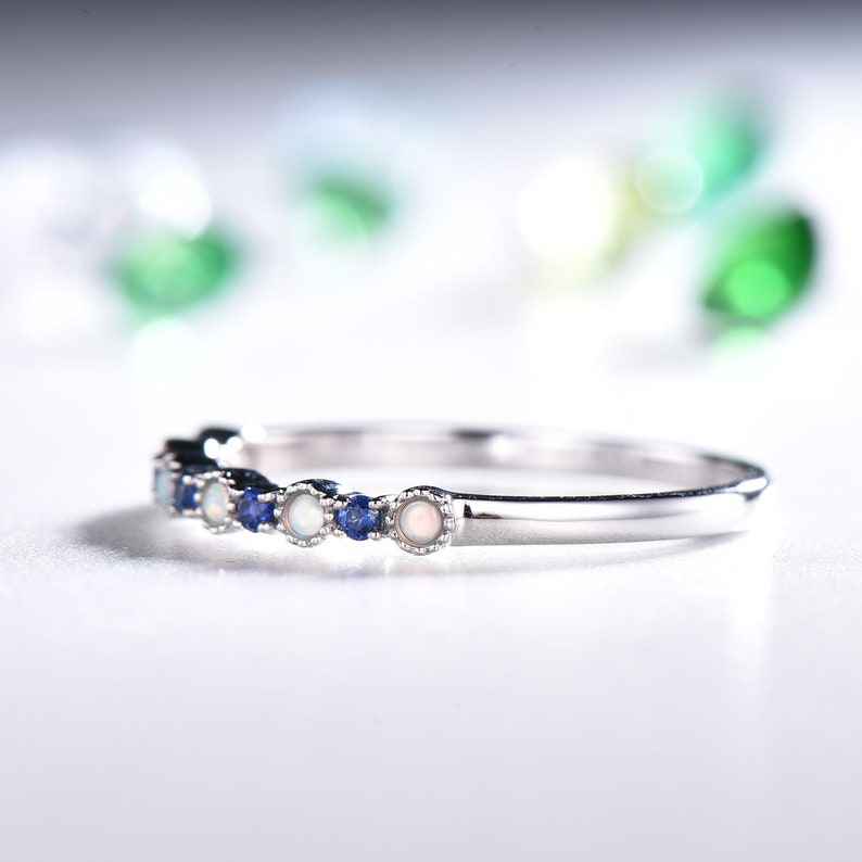 Natural Blue Sapphire 14k White Gold Opal Wedding Ring Stackable Band Dainty Women Engagement Anniversary Gift Bridal Set Jewelry