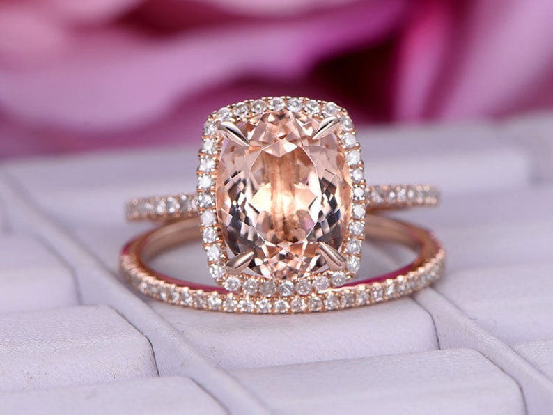 Jewelry & Watches 14k Rose Gold Over 3ct Pear Cut Morganite Opal Engagement Band Bridal Set Rings