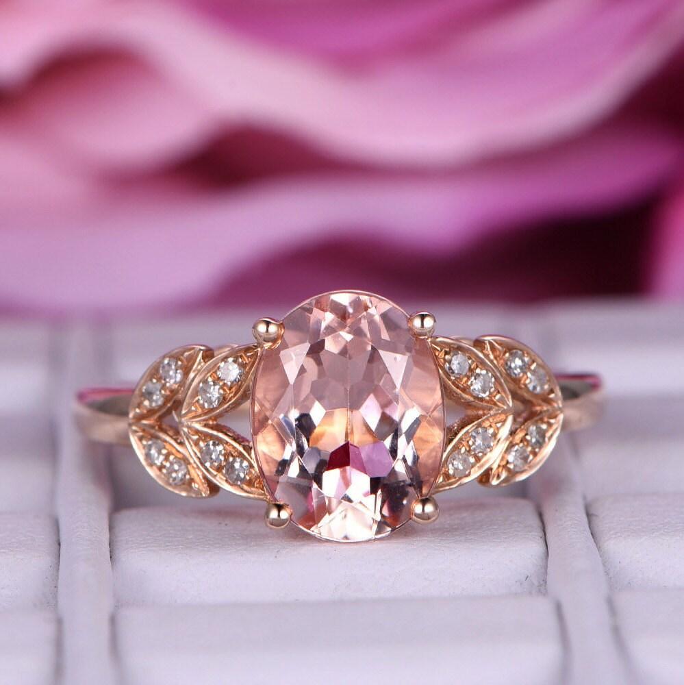 6x8mm Morganite Engagement ring/14k rose gold plain band/Ball | Etsy