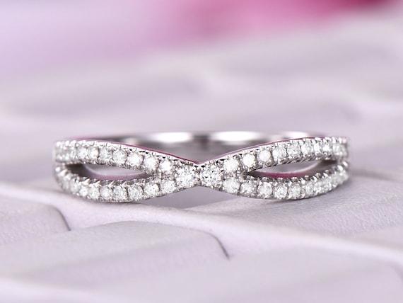 Infinity Diamond Wedding Band14k White Goldcurved Loop Etsy
