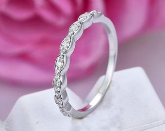 Half eternity Diamond matching band/14k white gold/Promise wedding ring/Art deco marquise shaped/Petite Pave/Bridal ring/Anniversay ring
