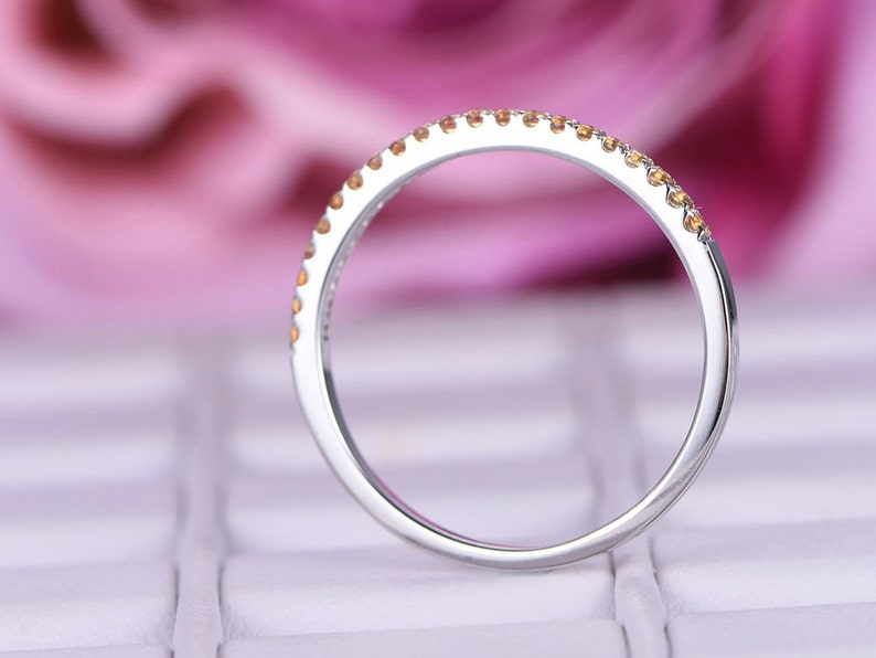 Citrine matching band in 14k white goldWedding ringStacking wedding bandRound cut yellow birthstone ringPetite pave Anniversay ring