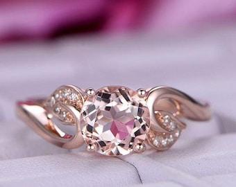 1.2ct Big brilliant Round Morganite engagement ring/14k rose gold match/Bridal wedding ring/Ball prong/Pave set/Retro Vintage Style/Curved