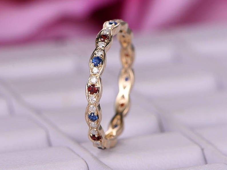 Moissanite Blue Sapphire Garnet Wedding Ring Band 14k Rose Gold Full Eternity Stacking Matching Jewelry Birthstone Promise Anniversary