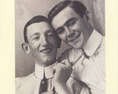 Tie Me Down: Vintage LGBTQ+ Card - vintage gay engagement card, gay boyfriends card, gay fiancees, two gay husbands, vintage kink card