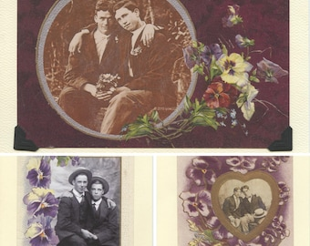 Purple Pansies Pack: Vintage LGBTQ+ Cards - 3 pack purple floral vintage cards - antique gay engagement, spring cards, gay greeting cards