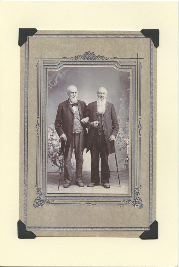 two gay husbands top hats and tails elegant gay engagement card gay wedding card gay anniversary card Top Hats: Vintage LGBTQ+ Card